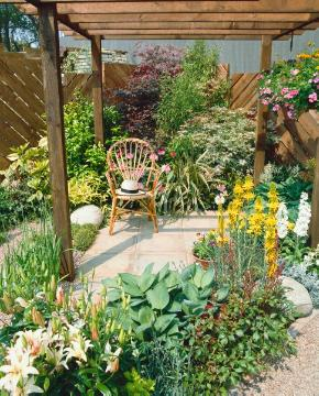 Hut, Mixture (Mix), Perennials mix, Pergola, planting, Sessel