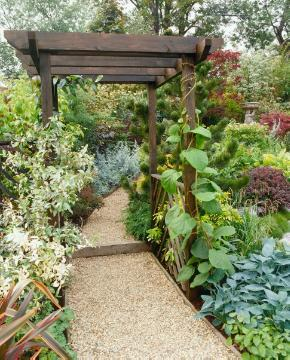 Gehweg, Mixture (Mix), Perennials mix, Pergola, planting