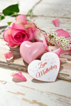 atmosphere, Cut Flowers, decoration «Miscellaneous», Hearts, Hybrid Tea, impression, Mothers Day