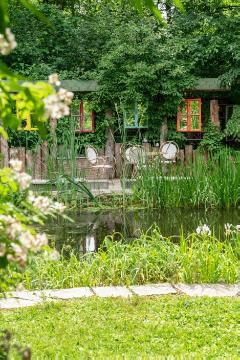 Garden Furniture, Gewässer, natural pond, pond, terrace