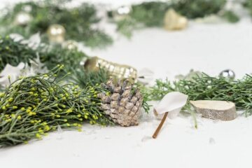 Christmas decoration, Christmas tree ball, Christmas, Cupressus (Genus), cyclamen (Genus), pinecone, white background
